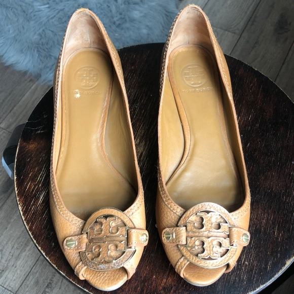 Tory Burch Shoes - Tory Burch Royal Tan Amanda Demi Peeptoe Wedges